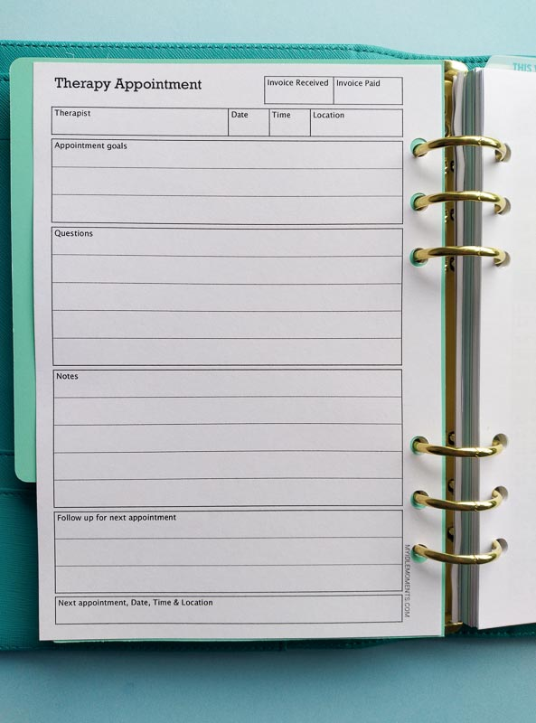 A5 view of Therapy appointment Insert
