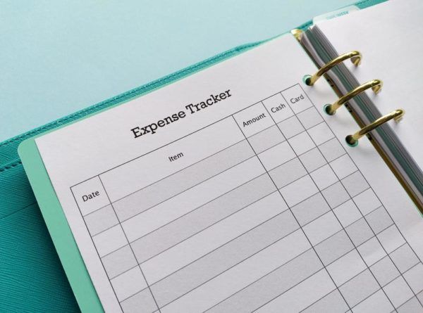 Close up of Expense Tracker in A5 ring binder