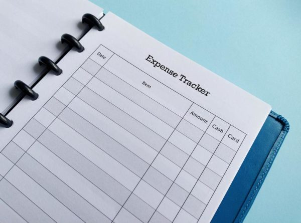 Close up of Expense Tracker in disc binder