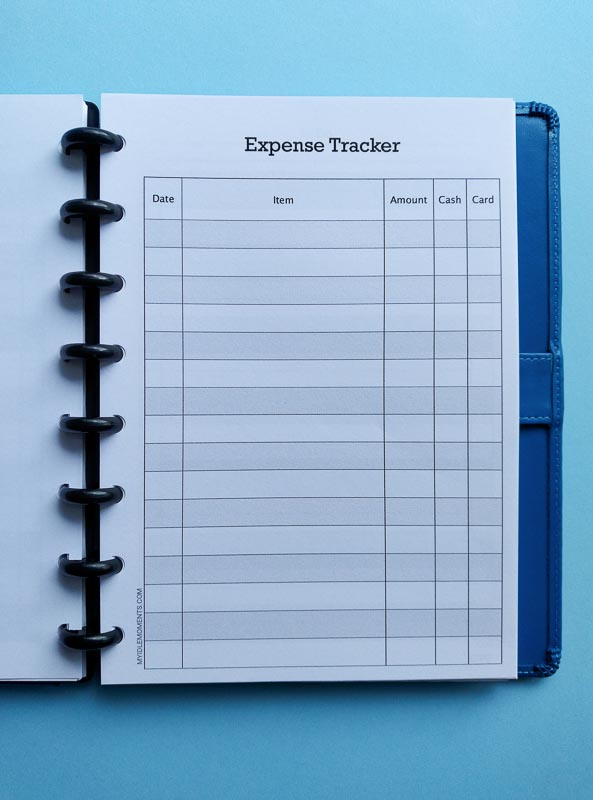 Full page view of Expense Tracker in disc binder