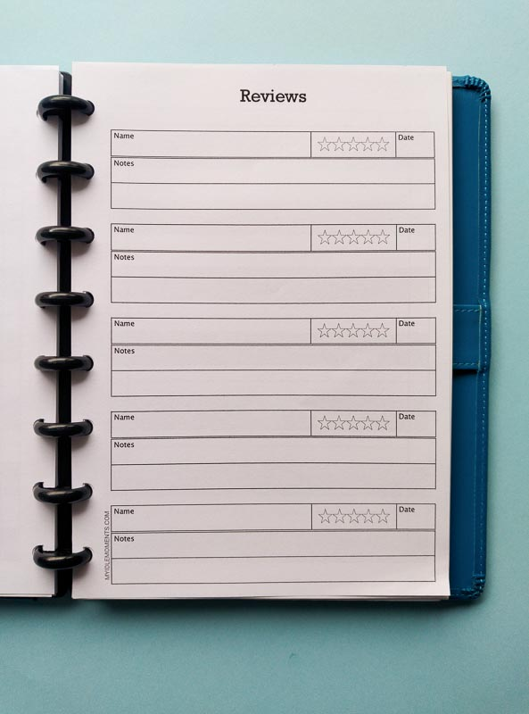 Review tracker for paper planners